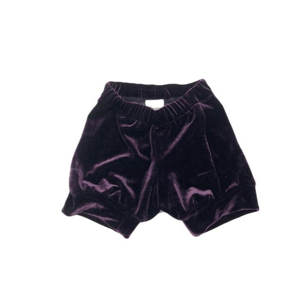 12-18 Months, Purple Velour Upcycled Shirt Shorts, Super Soft