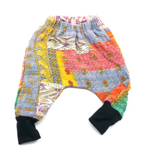 Load image into Gallery viewer, 9-12 Months, Kids Kantha Quilt Upcycled Cuffed Harems, Patchwork
