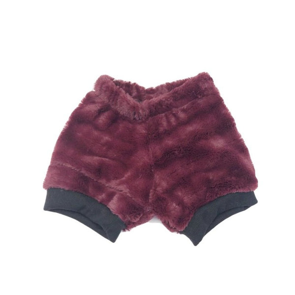 3T, Funky Fuzzy Faux Mink Maroon Upcycled Shirt Shorts