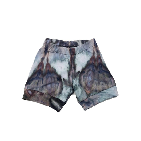 4T, Ice Dyed, Tie Dye Upcycled T Shirt Shorts