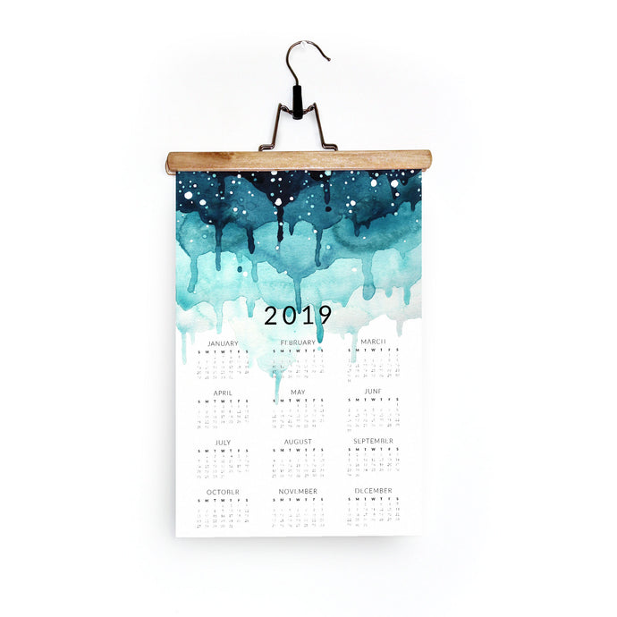 2019 Wall Calendar in Layered Teal Drips