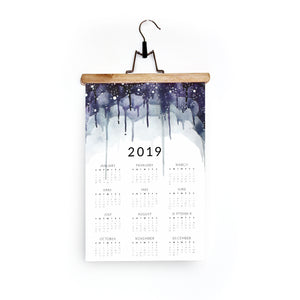 2019 Wall Calendar in Layered Purple Drips