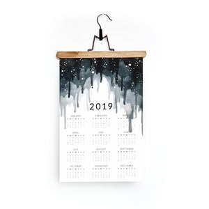 2019 Wall Calendar in Layered Indigo Drips