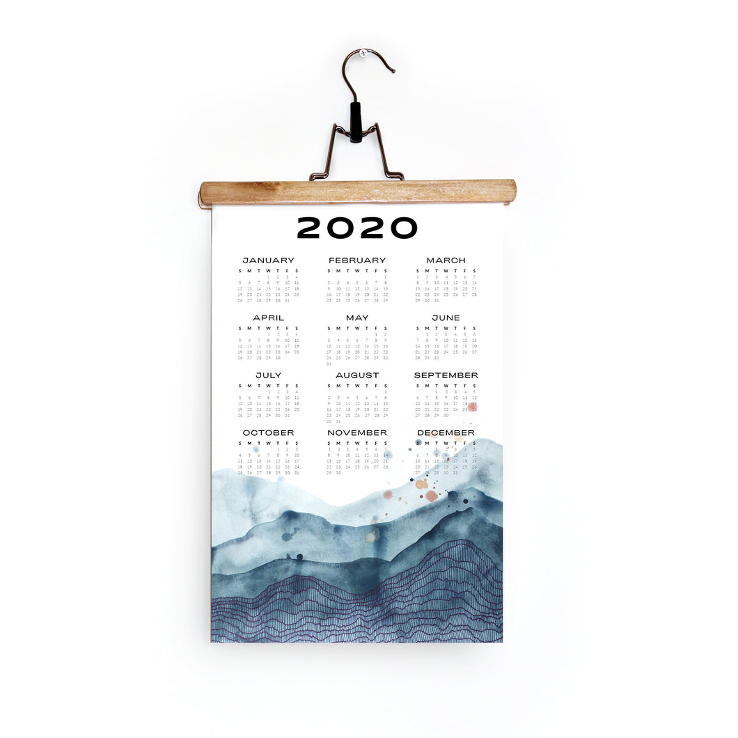 2020 Wall Calendar in Blue Horizon