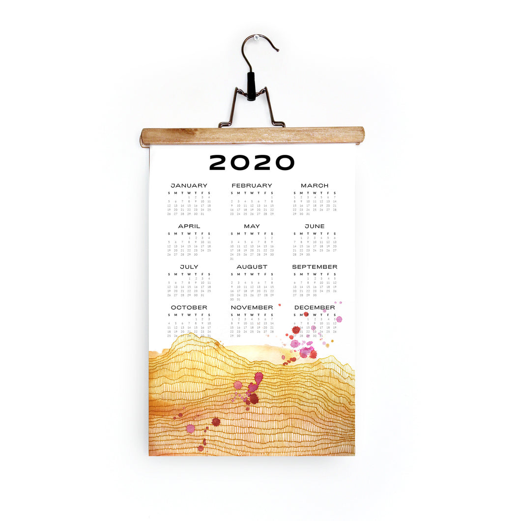 2020 Wall Calendar in Yellow Horizon