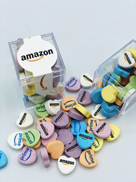 custom candy hearts in branded logo cube