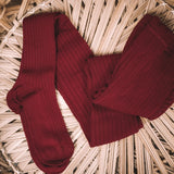 Burgundy Wide-Rib Basic Tights {Women's}