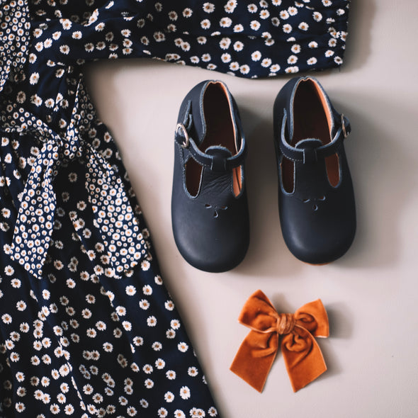 Navy Dalia {Children's Leather Shoes}