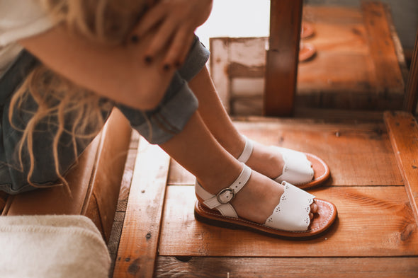 White Bella {Children's Leather Sandals}