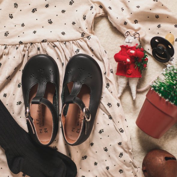 PRE-ORDER Black Catarina Mary Jane {Children's Leather Shoes}