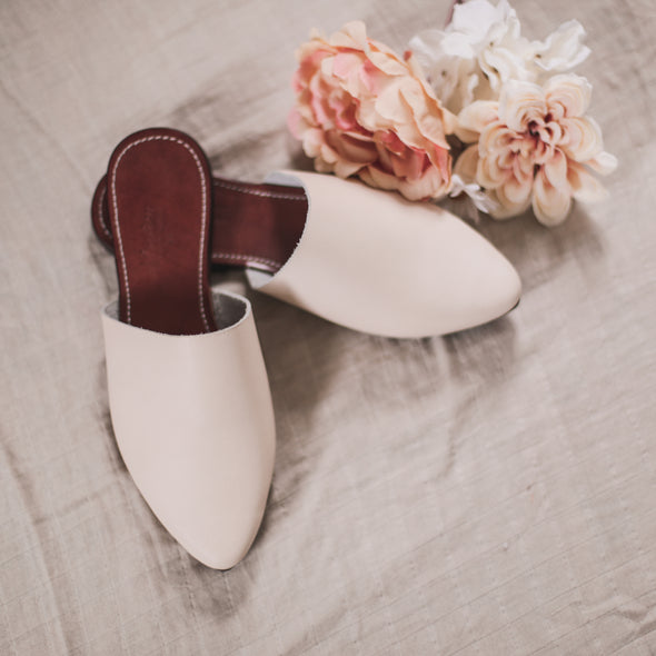 SECONDS Cream Otoño Mule {Women's Leather Shoes}