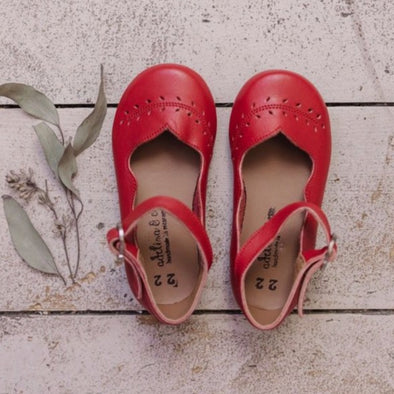 Red Cosecha Mary Janes {Children's Leather Shoes}
