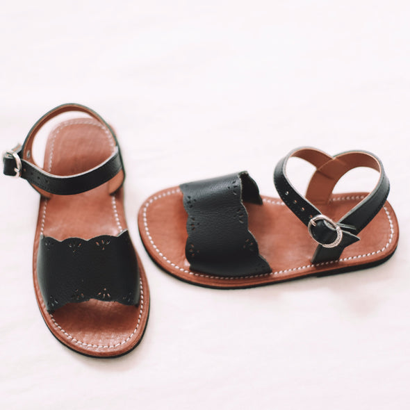 Black Bella {Children's Leather Sandals}