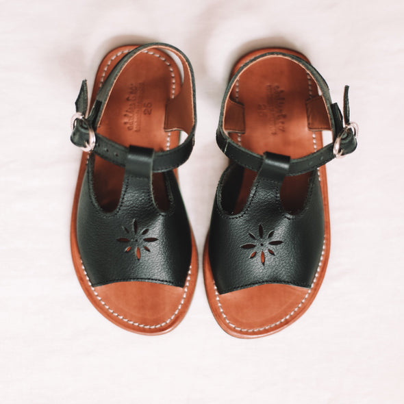 SECONDS Black Estrella {Children's Leather Sandals}