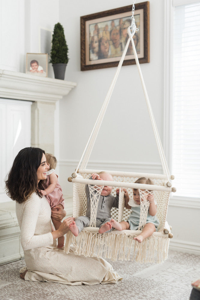 Double Macrame Hammock Baby Swing Chair Handmade In