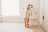 Macrame Hammock Swing Chair With Wood Bottom- Handmade in Nicaragua - Adelisa & Co.