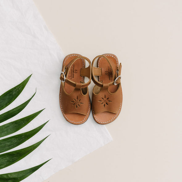 Brown Genuine Leather Adelisa & Co. Sandal for toddlers and kids. Handmade in Nicaragua.