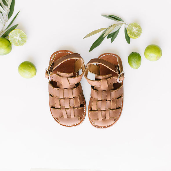 Aventura- unisex handmade woven leather sandals for babies and children. Crafted by artisans in Nicaragua.