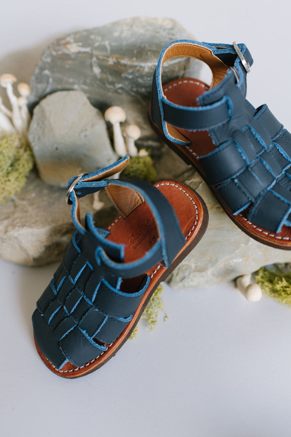 Navy Aventura {Children's Leather Sandals}