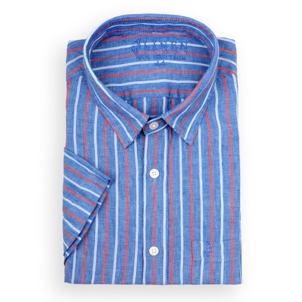 112f5b156 Blue Red White Striped Linen Shirt - 100% Irish Linen - Short Sleeves –  Linen Story