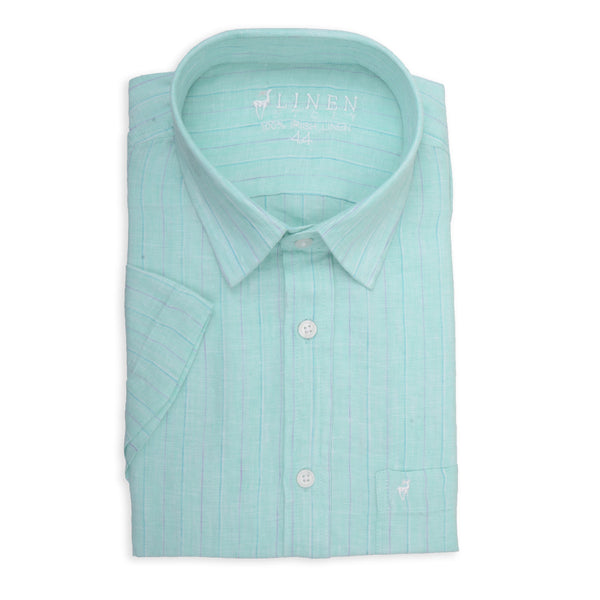 0dcecf770 Light Blue Striped Linen Shirt - 100% Irish Linen - Short Sleeves – Linen  Story
