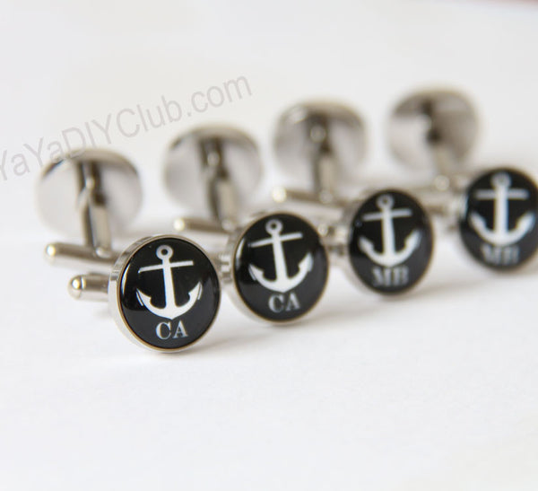 Groom Cufflinks -custom initials wedding date