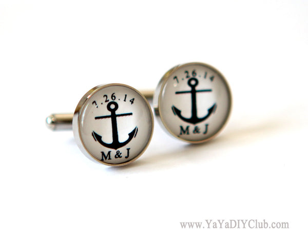 Anchor Cufflinks Custom initials Wedding Date in Black and White