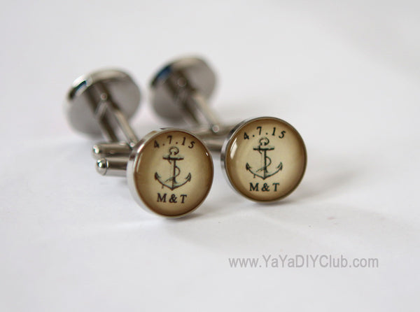 Vintage Anchor Cufflinks Personalized initials Wedding Date