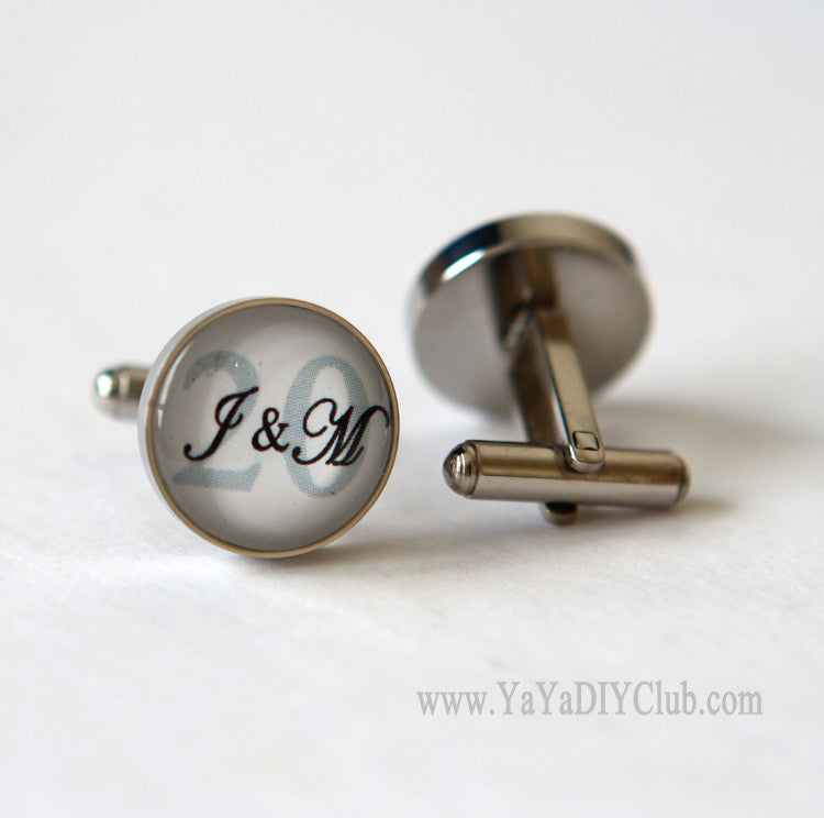 Wedding Anniversary gift for husband, 20 year Anniversary Gift for him, Personalized Cuff links Custom Initials Number Color