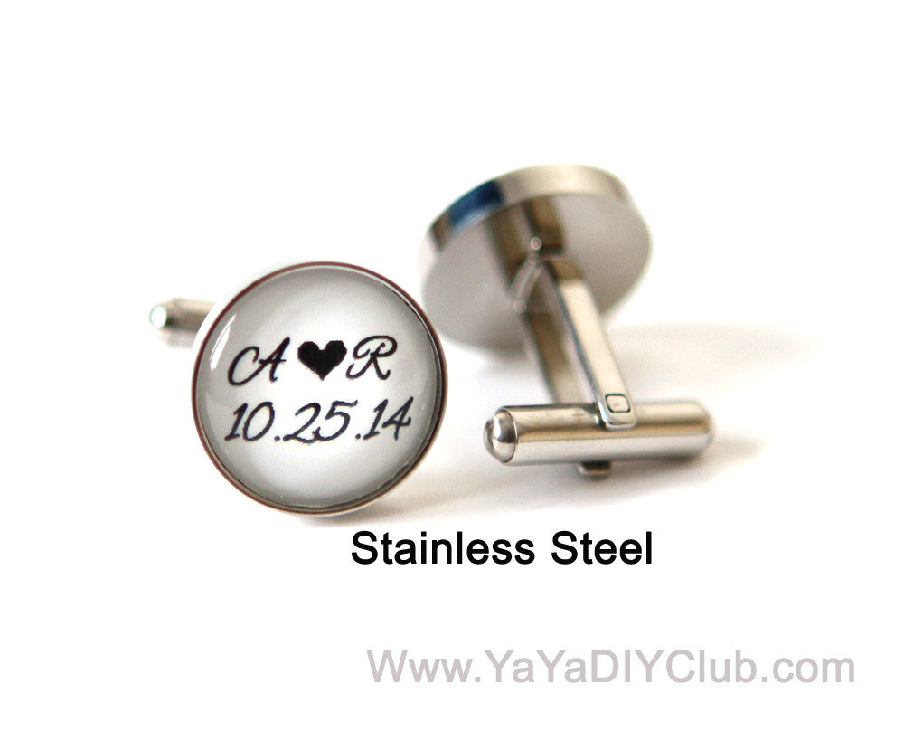 Custom Personalized Stainless Steel Cuff links - Personalized Groom and Bride initials, wedding date