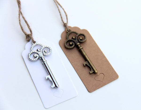 Antiqued Vintage Skeleton Key Bottle Openers with scalloped tags and twine heart