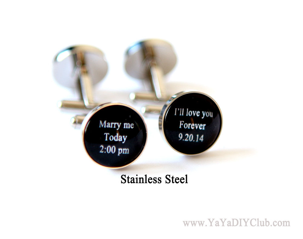 Wedding gift for groom, Anniversary gift, Custom wedding photo cuff links