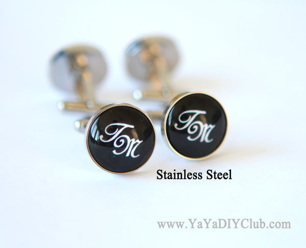 Two initials monogram cuff links, personalized cuff links
