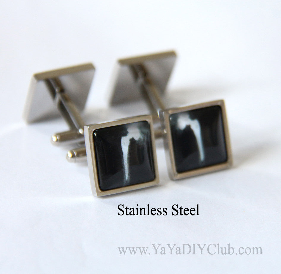 Square cuff links STAINLESS STEEL cuff links Gift for doctor, Xray tech gift