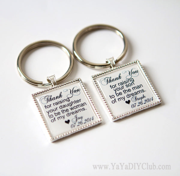 Mother of the groom key chains from bride - Custom key chains