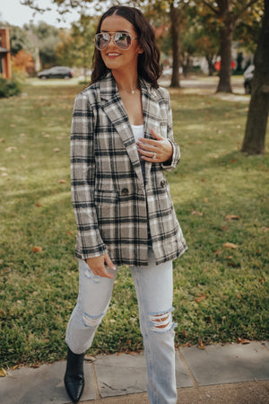 Grey Plaid Double Breasted Coat Jacket