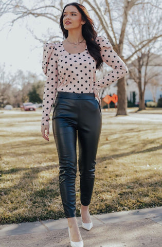 Single Button Leather Pants