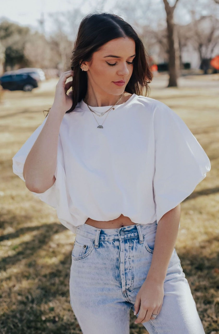 Balloon Crop Basic Tee (White)