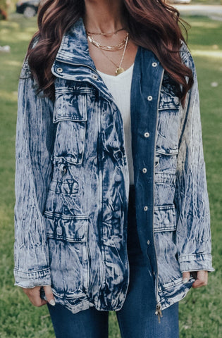 Oversized Acid Wash Denim Jacket (Blue)