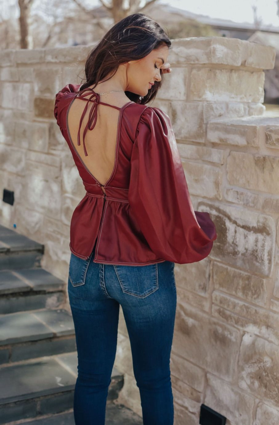 Red Leather Peplum Top
