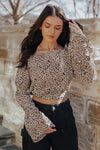 Leopard Open Back Bell Sleeve Blouse