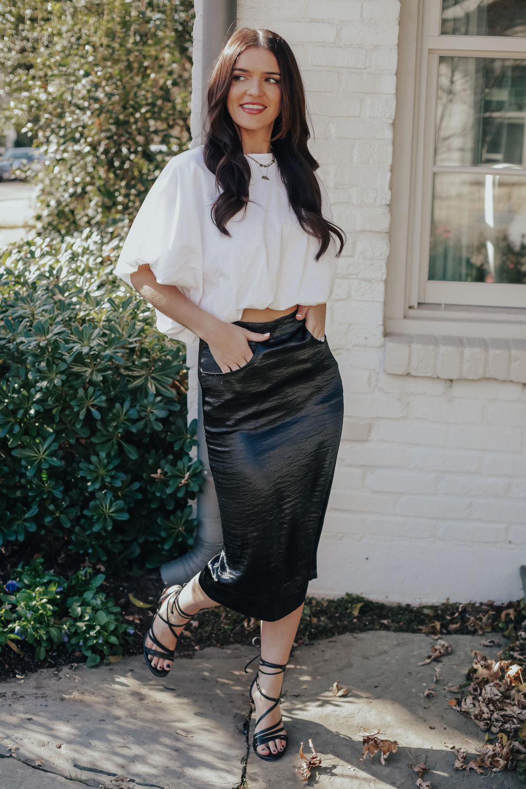Shiny Black Maxi Skirt