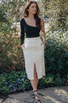 Pressed On Midi Skirt (WHITE)