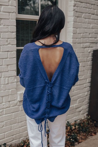 Lace Up Back Sweater (BLUE/PURPLE)