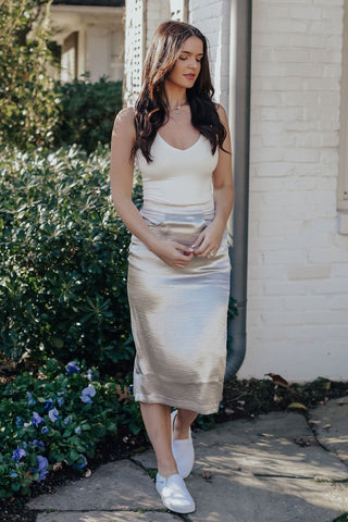 Metallic Maxi Skirt (Silver)