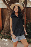 Sleeveless Button Down (Black)