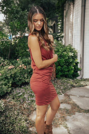 Crimson Casual Rouched Dress