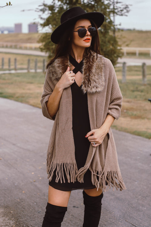 London Fringe Fur Shawl - LAST ONE