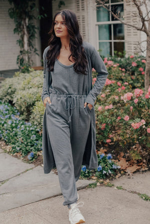 Jumpsuit and Cardigan Set (GRAY)
