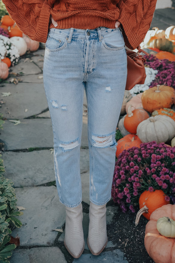Beckham High Waisted Distressed Denim Jeans